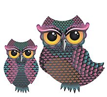 Pink and Blue Color Owl by AnnArtshock