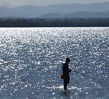 Lone fisherman - Off Newport Waterwaters Scarbrough QLD by Jason  Neylon