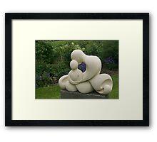 Mother and Child, garden sculpture, Flaxmere Garden, New Zealand Framed Print