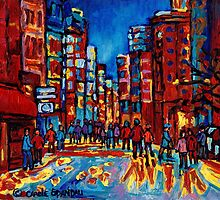 CITY AFTER THE RAIN DOWNTOWN MONTREAL SKYLINE STREET SCENE PAINTING by Carole  Spandau