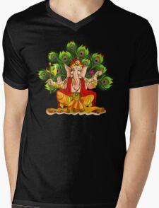 Ganesha India Elephant God Mens V-Neck T-Shirt