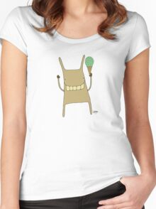 Gary the Rabbit Eating Icecream - Part of the 'Hungry Monsters Collection' Women's Fitted Scoop T-Shirt