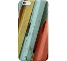 Happy Colorful Chairs Stacked on a Porch iPhone Case/Skin