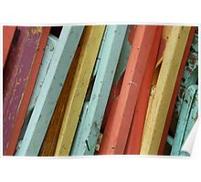 Happy Colorful Chairs Stacked on a Porch Poster