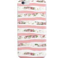 Elegant Rose Floral Print and Painted Brush Stripes iPhone Case/Skin