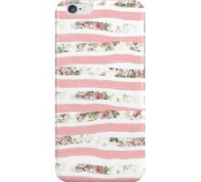 Elegant Rose Floral Print and Painted Brush Stripes iPhone Case/Skin