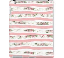 Elegant Rose Floral Print and Painted Brush Stripes iPad Case/Skin
