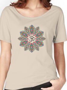 Om (Aum) Symbol in Block Print Paisley Mandala Women's Relaxed Fit T-Shirt