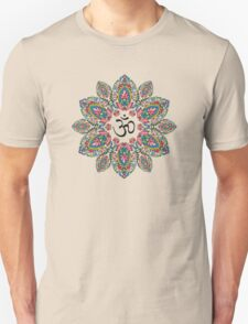 Om (Aum) Symbol in Block Print Paisley Mandala T-Shirt