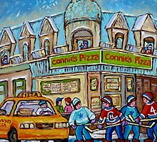 MONTREAL PAINTINGS OF POINTE ST.CHARLES WINTER SCENES WITH HOCKEY GAME CONNIE'S PIZZA by Carole  Spandau