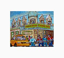 MONTREAL PAINTINGS OF POINTE ST.CHARLES WINTER SCENES WITH HOCKEY GAME CONNIE'S PIZZA Unisex T-Shirt