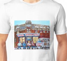 MONTREAL PAINTINGS OF DEPANNEUR RICHARDSON POINTE ST CHARLES WITH COTT'S TRUCK Unisex T-Shirt