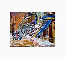 PAINTINGS OF MONTREAL STAIRCASES VERDUN BOYS PLAY STREET HOCKEY  Unisex T-Shirt