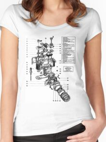 1977 Nikon SLR Camera exploded drawing. Women's Fitted Scoop T-Shirt