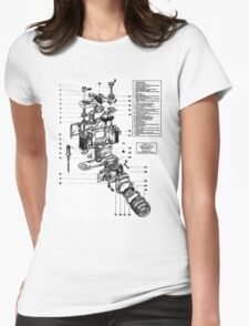 1977 Nikon SLR Camera exploded drawing. Womens Fitted T-Shirt