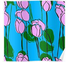 Pink Tulips Watercolor Abstract Poster