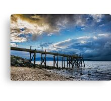 Storm brewing over Kinnegar jetty Canvas Print