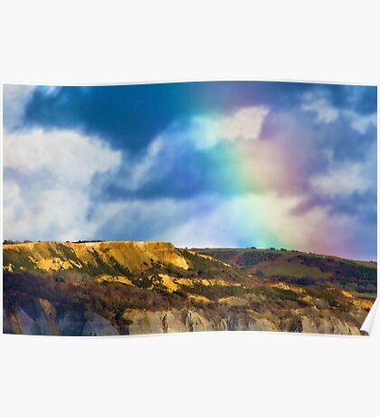 Rainbow Over Golden Cap Poster