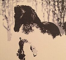 Ink Horse in Snow by Ross Williams