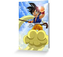 Goku at Magic Cloud Greeting Card