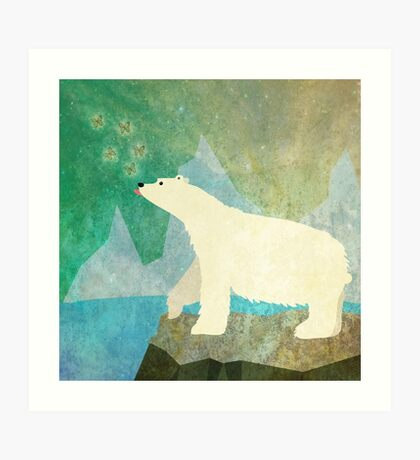 Playful Polar Bear in the Northern Lights Art Print