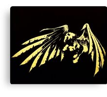 Pegasus White on Black Canvas Print