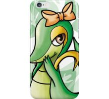 Cute Snivy with orange ribbon iPhone Case/Skin