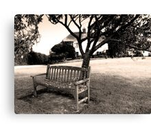 Bench, Week St Mary Village Green, Cornwall, UK Canvas Print
