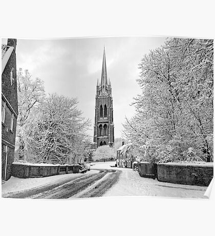 St James' church Louth In The Snow Poster