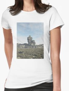 Ruined Tower on a Rocky Outcrop Womens Fitted T-Shirt