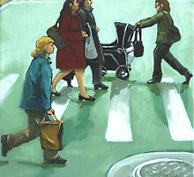 Figurative Cityscape - Daily Rush by LindaAppleArt