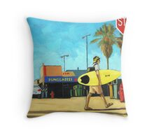 Surf and Turf - figurative oil painting Throw Pillow
