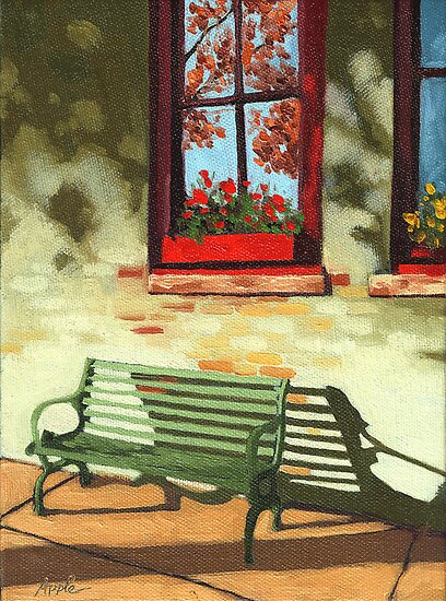 Empty Bench - oil painting by LindaAppleArt