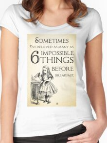 Alice in Wonderland Quote - Six Impossible Things - Lewis Carroll - 0111 Women's Fitted Scoop T-Shirt