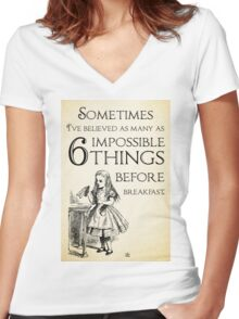 Alice in Wonderland Quote - Six Impossible Things - Lewis Carroll - 0111 Women's Fitted V-Neck T-Shirt