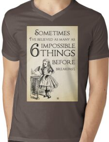 Alice in Wonderland Quote - Six Impossible Things - Lewis Carroll - 0111 Mens V-Neck T-Shirt