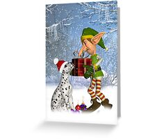 """Lets put this under the tree"" Dalmatian Puppy With Elf Greeting Card"