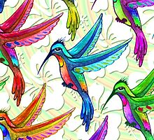 Hummingbirds Multicolors Pattern by BluedarkArt