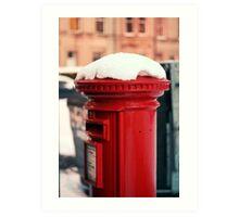 Snowy Postbox Art Print
