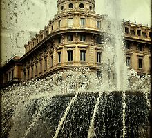 Textured CityScape Genova, fountain  by Francesco Malpensi