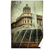 Textured CityScape Genova, fountain  Poster