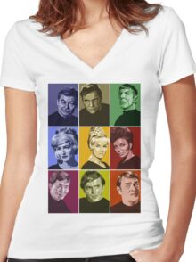 Star Trek TOS Crew (stylized) Women's Fitted V-Neck T-Shirt