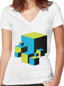 Geometric Blocks Women's Fitted V-Neck T-Shirt