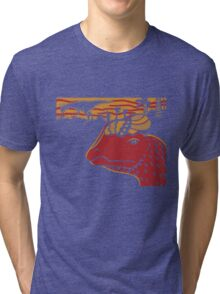 Dilophosaurus Duo - Orange and Red Tri-blend T-Shirt