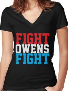 Fight Owens Fight (Blue/White/Red) Women's Fitted V-Neck T-Shirt