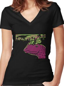 Dilophosaurus Duo - Green and Purple Women's Fitted V-Neck T-Shirt