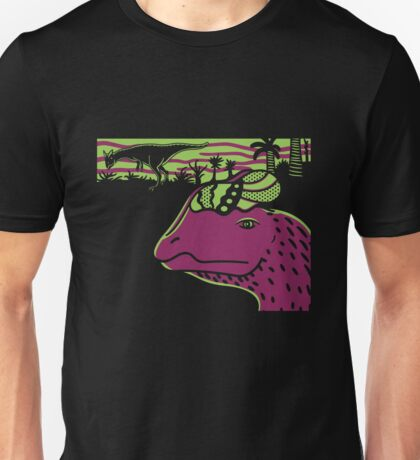 Dilophosaurus Duo - Green and Purple Unisex T-Shirt