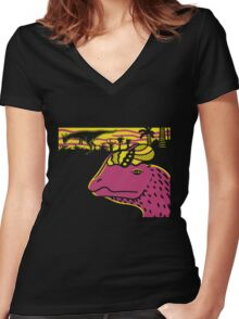 Dilophosaurus Duo - Yellow and Pink Women's Fitted V-Neck T-Shirt