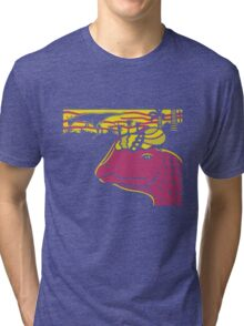 Dilophosaurus Duo - Yellow and Pink Tri-blend T-Shirt