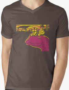 Dilophosaurus Duo - Yellow and Pink Mens V-Neck T-Shirt